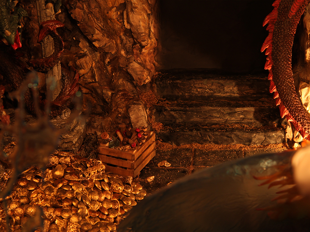 Water Shield holding Dragon's fire one step away from the Golden Treasure