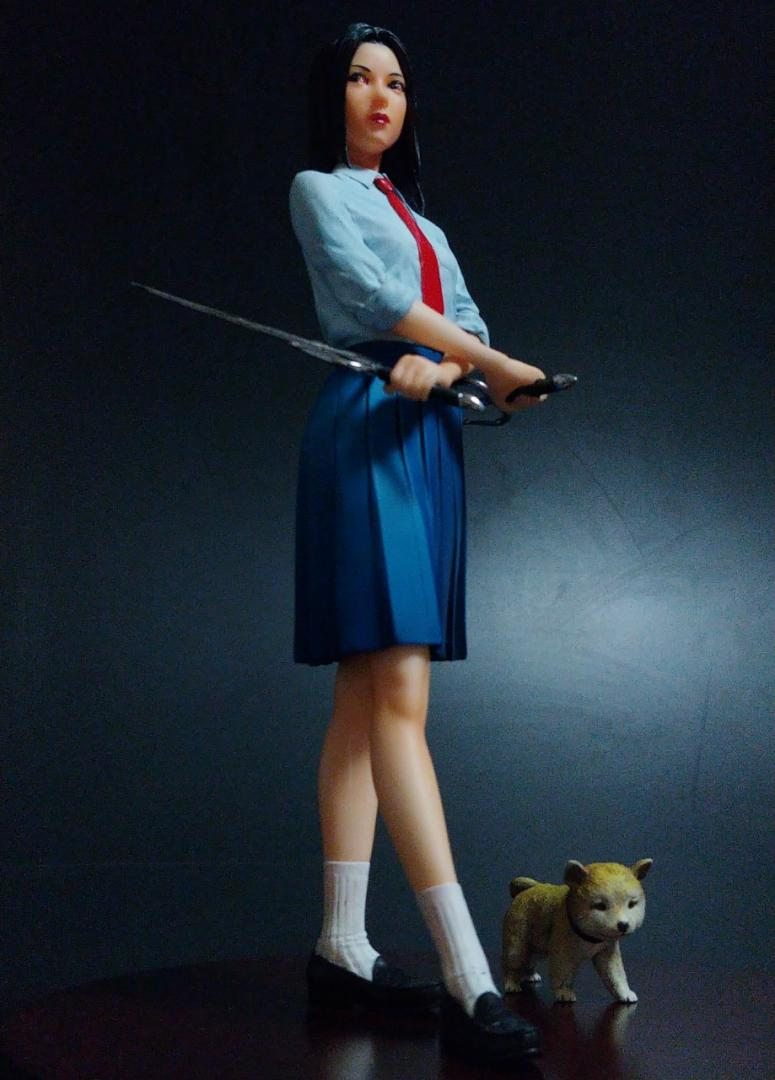School Girl with Sai & Shiba Inu