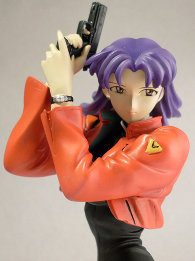 Misato with Handgun on Knees