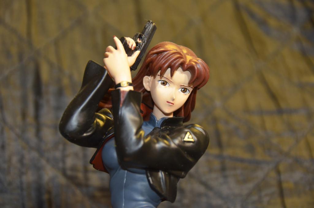 Misato with Handgun on Knees