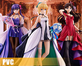 PV10214 1/7 Saber & Tohsaka Rin & Matou Sakura 15th Celebration Dress Version (PVC)