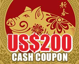 DG0018  US$ 200.00 Cash Coupon