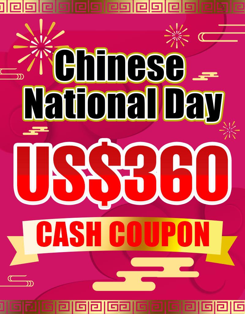 US$ 360.00 Cash Coupon