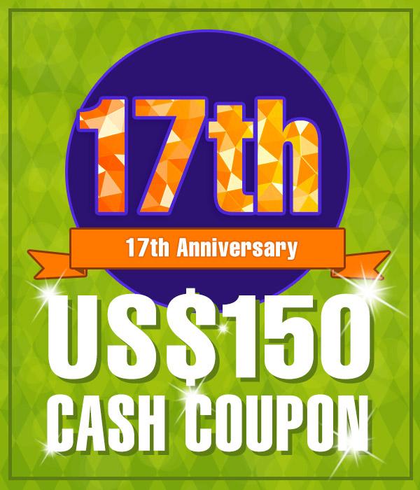 US$ 150.00 Cash Coupon