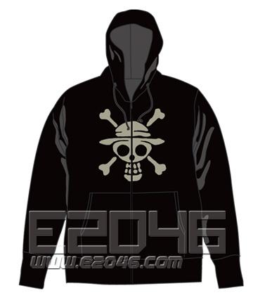 One Piece Luffy Pirate Zip Parka Black S