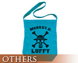 OT0467  One Piece Luffy Shoulder Tote Bag Turquoise Blue