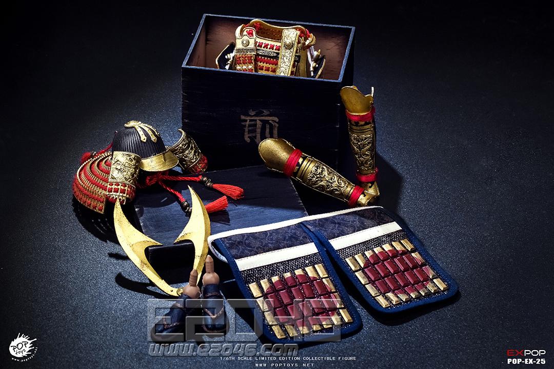 金漆涂切付札红威大铠 (人偶)