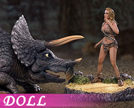 DL3561  Triceratops And Female Savages (DOLL)