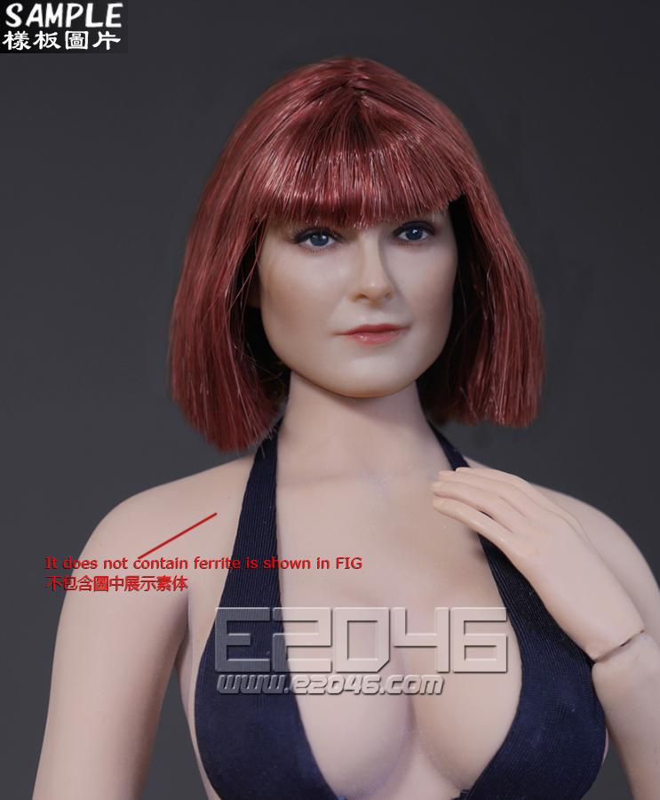 Short hair style female head carved (Doll)