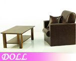 DL0201 1/6 Single Sofa Brown & Wooden Coffee Table