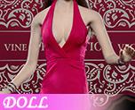 DL0519 1/6 高級定製版女式性感掛脖低胸連衣裙套裝 B (人偶)