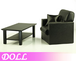 DL0200 1/6 Single Sofa Black & Wooden Coffee Table