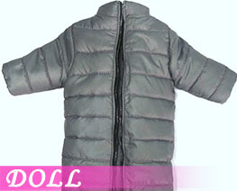 DL3400 1/6 Stand Collar Long Down Coat Light Grey (DOLL)