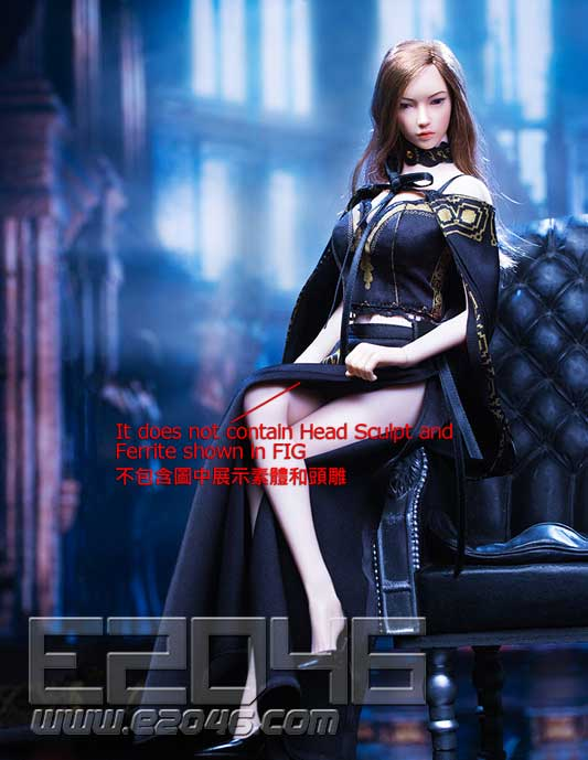 Queen style long retro skirt C (DOLL)