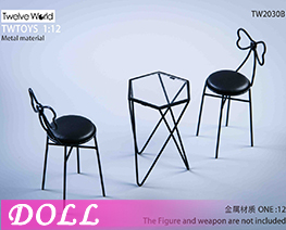 DL3987 1/6 Metal Table And Chair Scene B (DOLL)